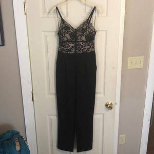 Express Black/nude lace jumpsuit
